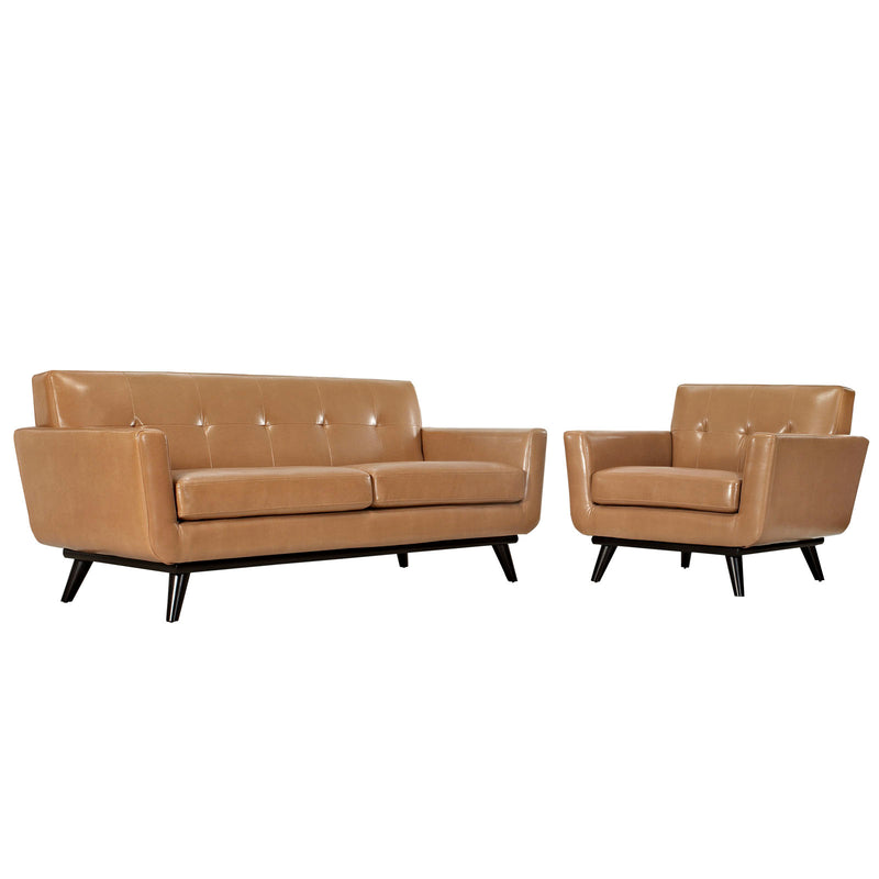 Modway Engage 2 Piece Leather Living Room Set in Tan - EEI-1765-TAN-SET