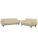 Modway Engage 2 Piece Leather Living Room Set in Beige - EEI-1767-BEI-SET