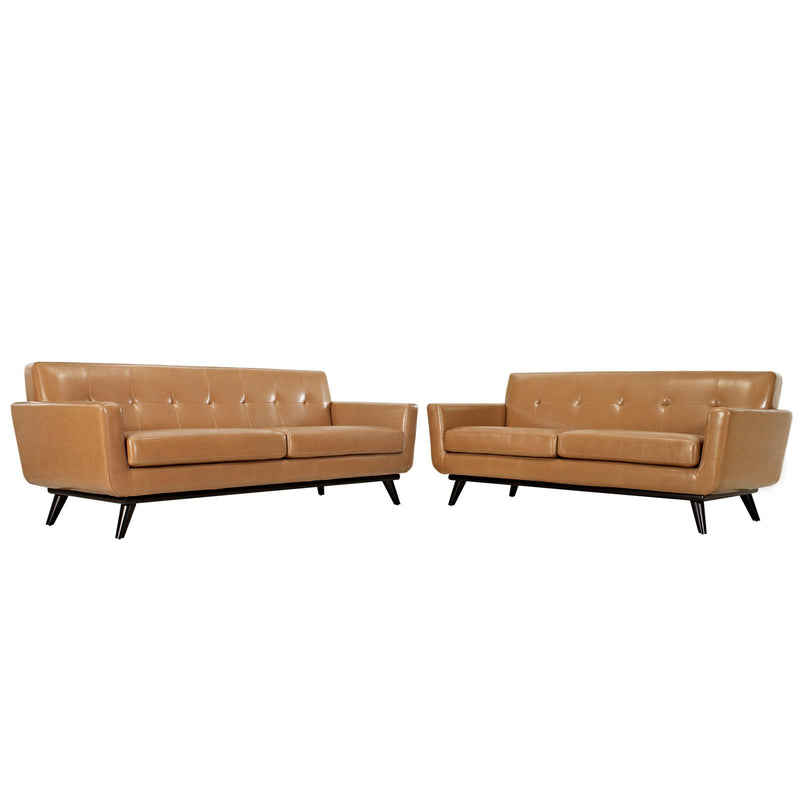 Modway Engage 2 Piece Leather Living Room Set in Tan - EEI-1767-TAN-SET