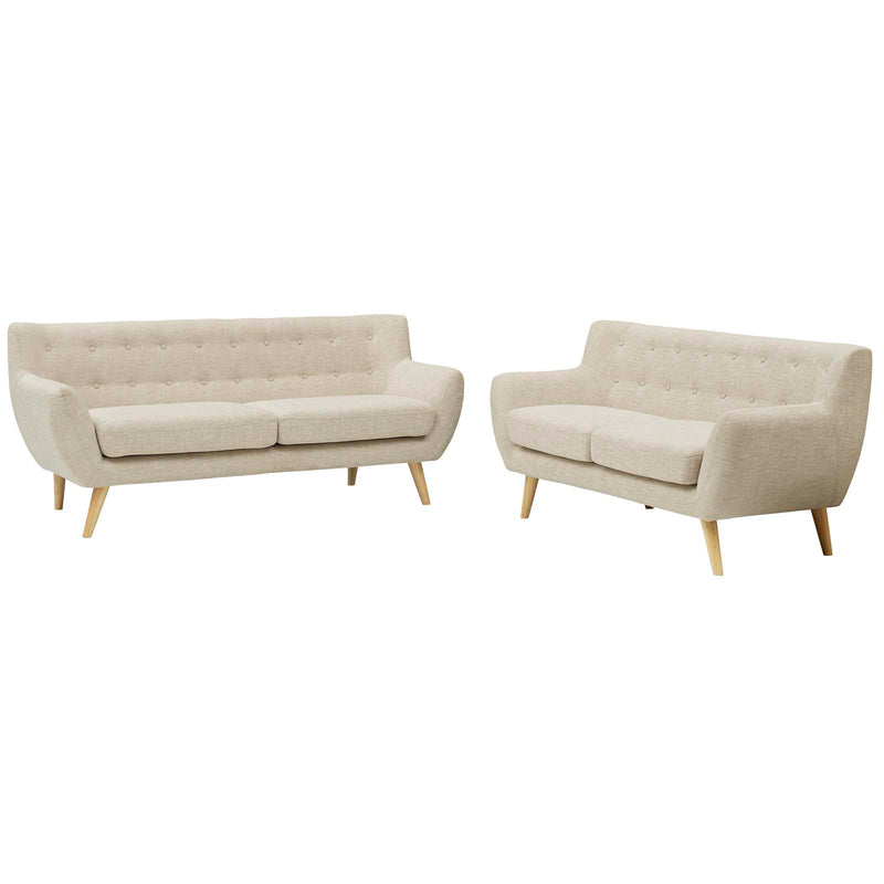 Modway Remark 2 Piece Living Room Set in Beige - EEI-1785-BEI-SET