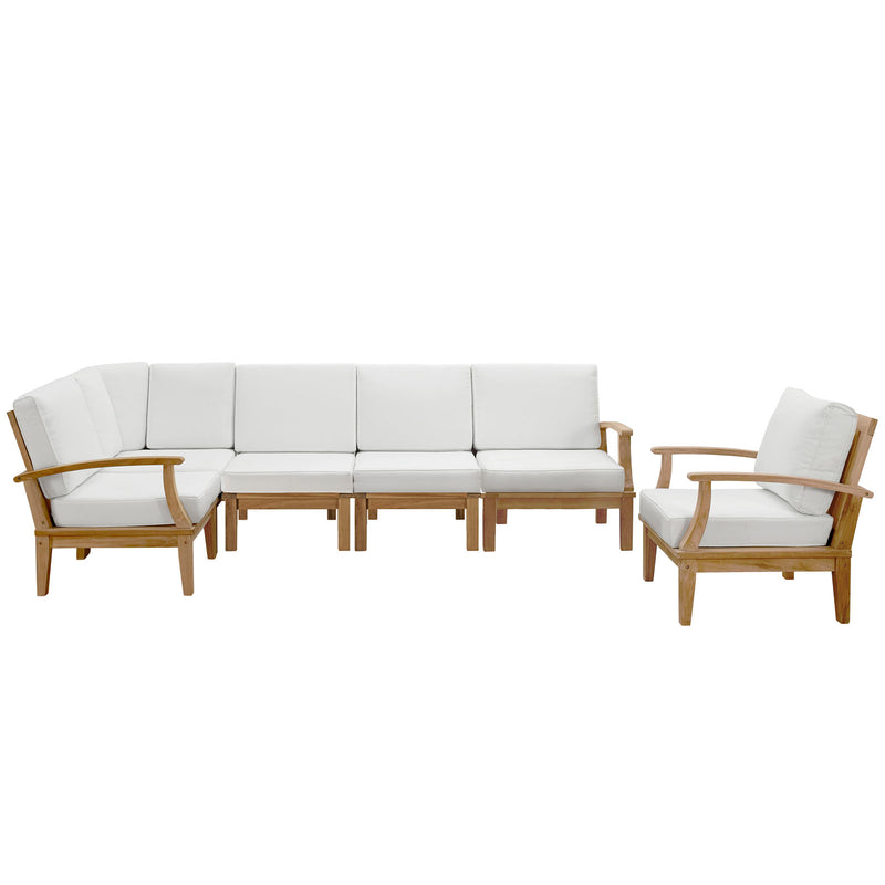 Modway Marina 6 Piece Outdoor Patio Teak Set in Natural White - EEI-1816-NAT-WHI-SET
