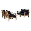 Modway Marina 4 Piece Outdoor Patio Teak Set in Natural Navy - EEI-1818-NAT-NAV-SET