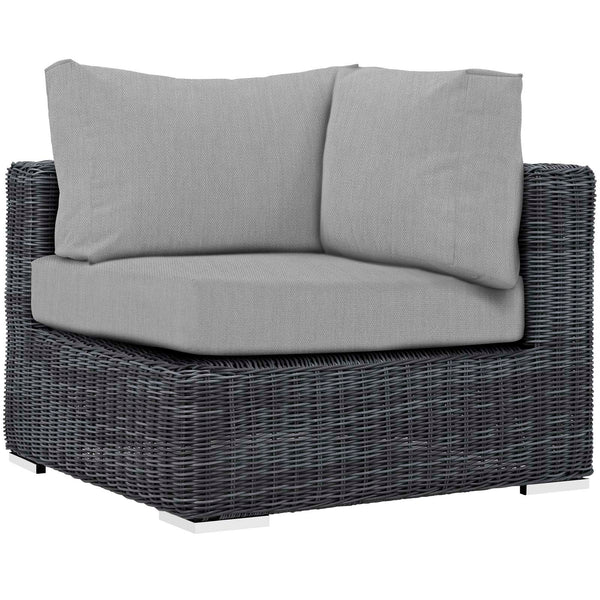 Modway Summon Outdoor Patio Sunbrella Corner in Canvas Gray