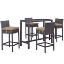 Modway Convene 5 Piece Outdoor Patio Pub Set in Espresso Mocha - EEI-1964-EXP-MOC-SET