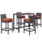 Modway Convene 5 Piece Outdoor Patio Pub Set in Espresso Orange - EEI-1964-EXP-ORA-SET