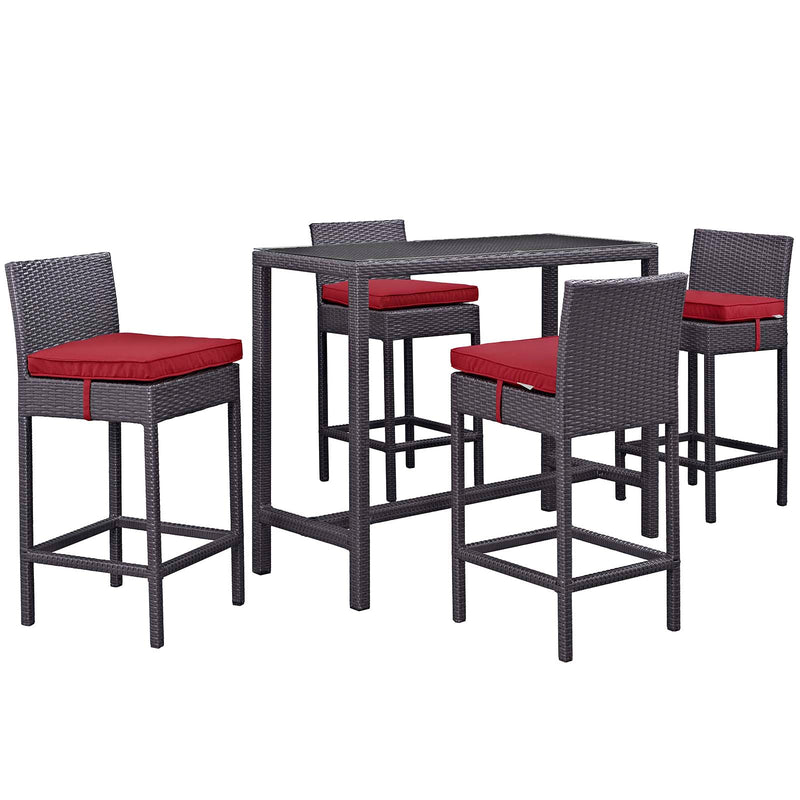 Modway Convene 5 Piece Outdoor Patio Pub Set in Espresso Red - EEI-1964-EXP-RED-SET