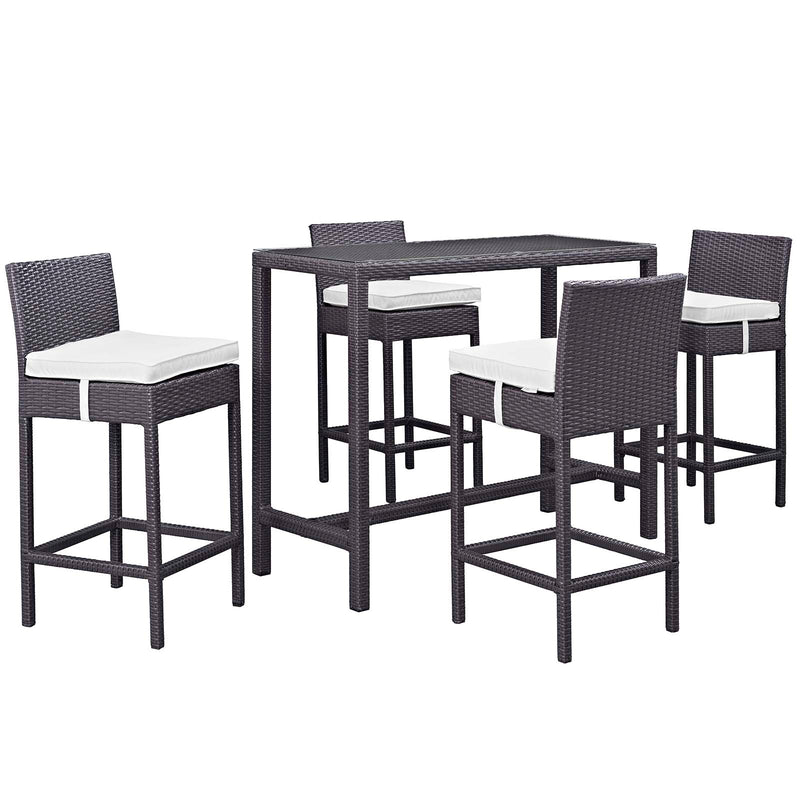Modway Convene 5 Piece Outdoor Patio Pub Set in Espresso White - EEI-1964-EXP-WHI-SET