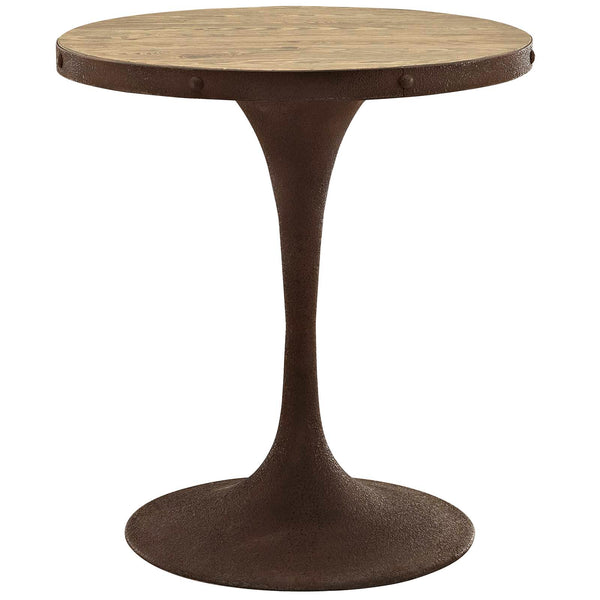 "Modway Drive 28"" Round Wood Top Dining Table in Brown"