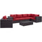 Modway Convene 7 Piece Outdoor Patio Sectional Set in Espresso Red - EEI-2157-EXP-RED-SET