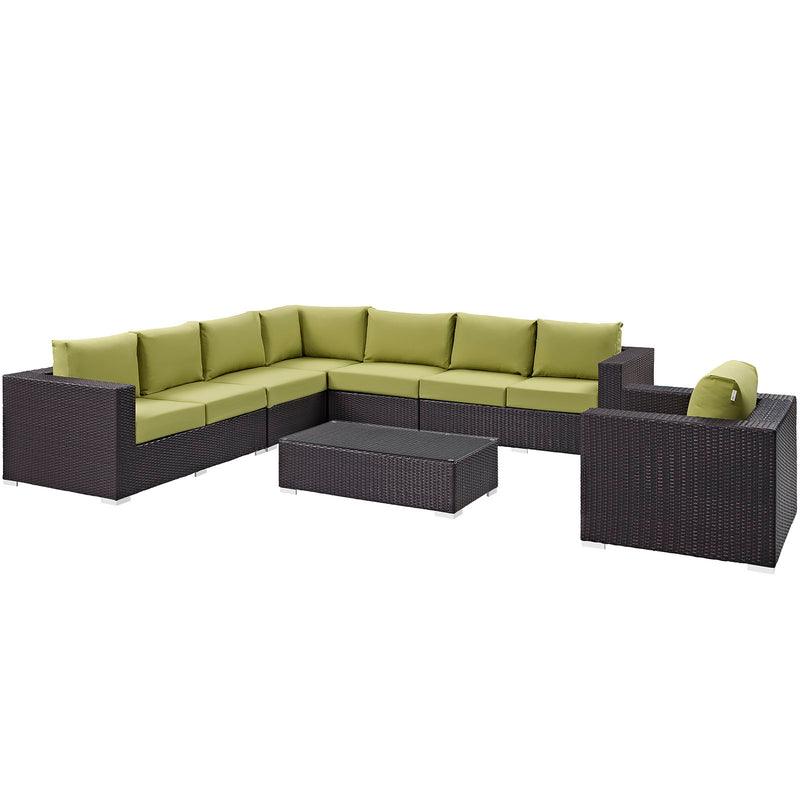 Modway Convene 7 Piece Outdoor Patio Sectional Set in Espresso Peridot - EEI-2162-EXP-PER-SET