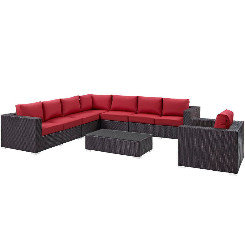 Modway Convene 7 Piece Outdoor Patio Sectional Set in Espresso Red - EEI-2162-EXP-RED-SET