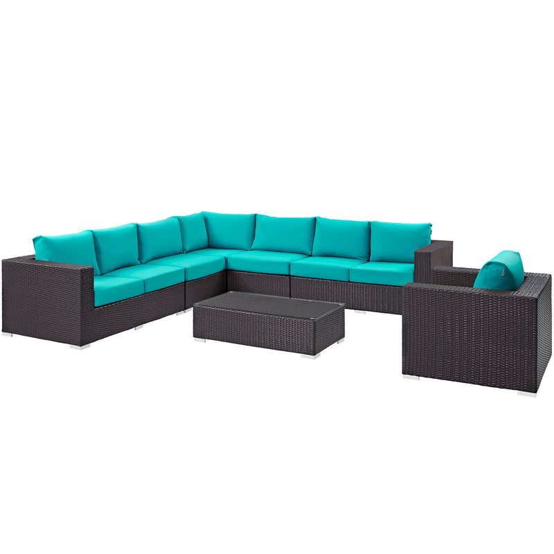 Modway Convene 7 Piece Outdoor Patio Sectional Set in Espresso Turquoise - EEI-2162-EXP-TRQ-SET