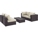 Modway Convene 5 Piece Outdoor Patio Sectional Set in Espresso Beige - EEI-2163-EXP-BEI-SET