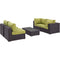 Modway Convene 5 Piece Outdoor Patio Sectional Set in Espresso Peridot - EEI-2163-EXP-PER-SET
