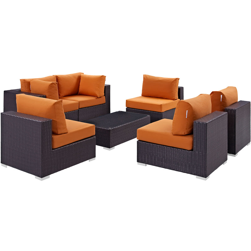 Modway Convene 7 Piece Outdoor Patio Sectional Set in Espresso Orange - EEI-2164-EXP-ORA-SET