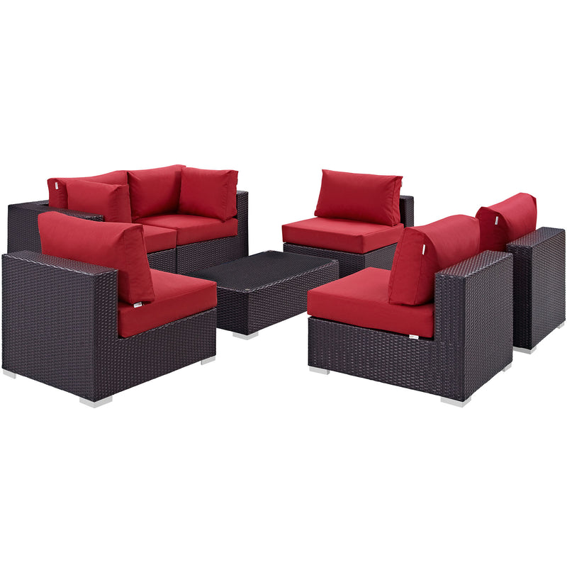 Modway Convene 7 Piece Outdoor Patio Sectional Set in Espresso Red - EEI-2164-EXP-RED-SET