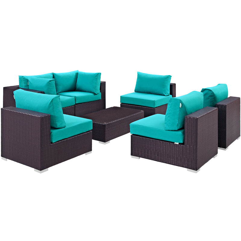 Modway Convene 7 Piece Outdoor Patio Sectional Set in Espresso Turquoise - EEI-2164-EXP-TRQ-SET