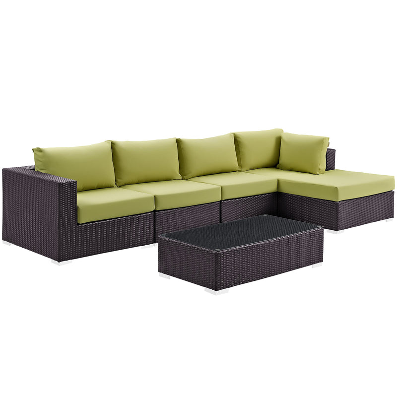 Modway Convene 5 Piece Outdoor Patio Sectional Set in Espresso Peridot - EEI-2167-EXP-PER-SET