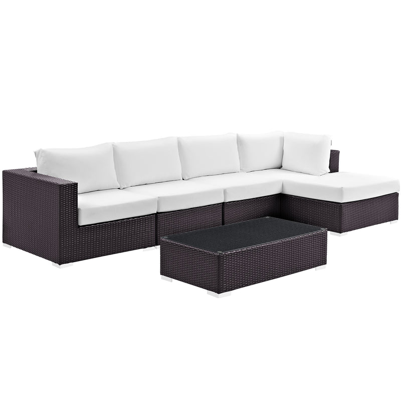 Modway Convene 5 Piece Outdoor Patio Sectional Set in Espresso White - EEI-2167-EXP-WHI-SET