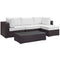 Modway Convene 5 Piece Outdoor Patio Sectional Set in Espresso White - EEI-2172-EXP-WHI-SET