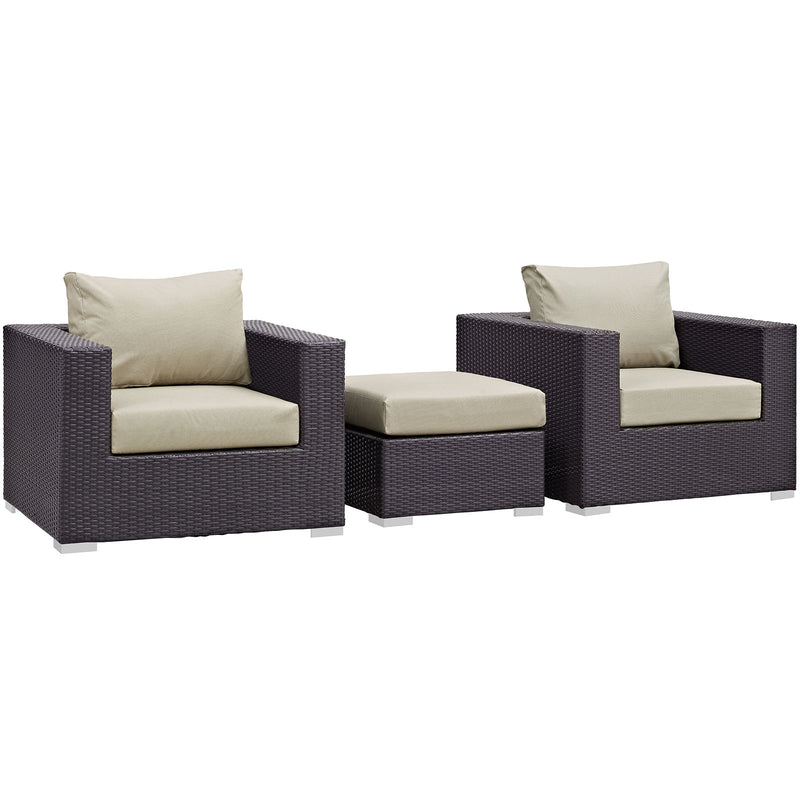 Modway Convene 3 Piece Outdoor Patio Sofa Set in Espresso Beige - EEI-2174-EXP-BEI-SET