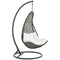 Abate Outdoor Patio Swing Chair With Stand in Gray White by East End Imports