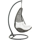 Abate Outdoor Patio Swing Chair With Stand in Gray White by Modway
