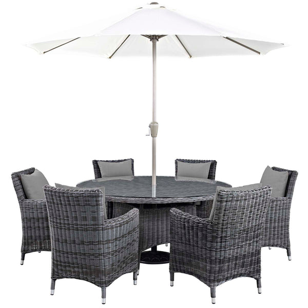 Modway Summon 8 Piece Outdoor Patio Sunbrella Dining Set in Canvas Gray