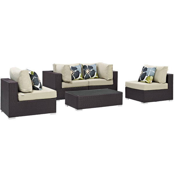 Modway Convene 5 Piece Outdoor Patio Sectional Set in Espresso Beige