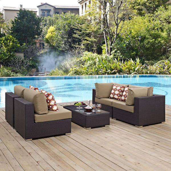 Modway Convene 5 Piece Outdoor Patio Sectional Set in Espresso Mocha