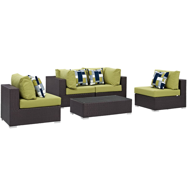 Modway Convene 5 Piece Outdoor Patio Sectional Set in Espresso Peridot
