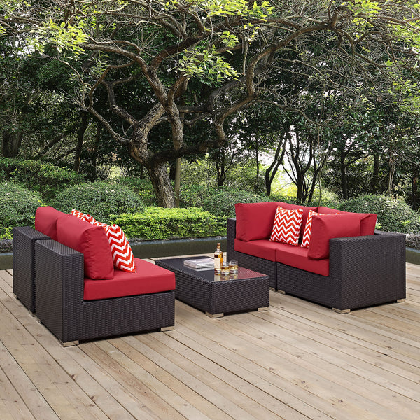 Modway Convene 5 Piece Outdoor Patio Sectional Set in Espresso Red