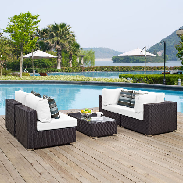 Modway Convene 5 Piece Outdoor Patio Sectional Set in Espresso White