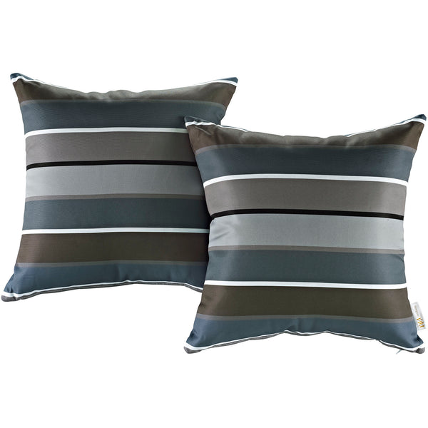 Modway  Two Piece Outdoor Patio Pillow Set in Stripe