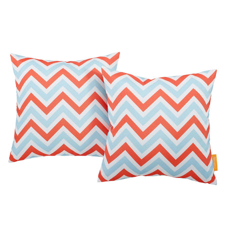 Modway  Two Piece Outdoor Patio Pillow Set in Zig-Zag