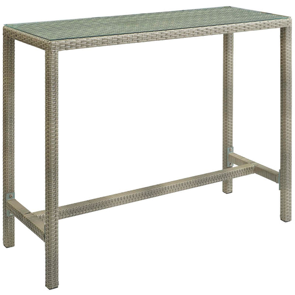 Modway Conduit Outdoor Patio Wicker Rattan Large Bar Table in Light Gray
