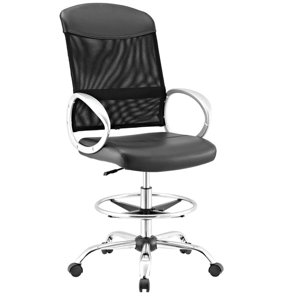 Modway Emblem Mesh and Vinyl Drafting Chair in Black