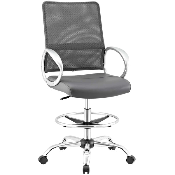 Modway Command Mesh and Vinyl Drafting Chair in Gray