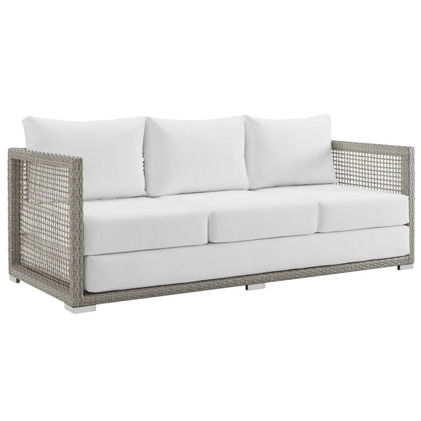 Modway Aura Outdoor Patio Wicker Rattan Sofa in Gray White