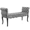 Adelia Chesterfield Style Button Tufted Performance Velvet Bench in Light Gray by East End Imports