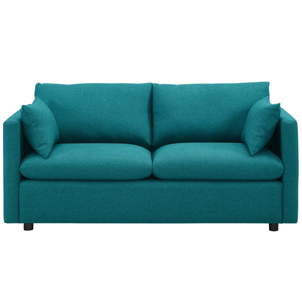 Activate Upholstered Fabric Sofa in Teal by East End Imports