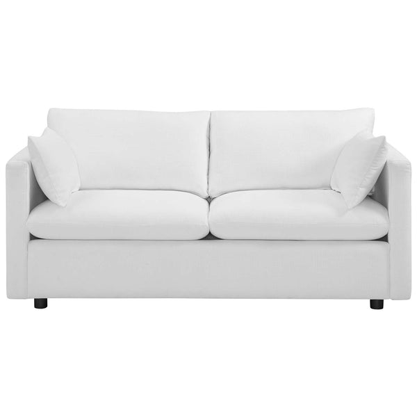 Activate Upholstered Fabric Sofa in White by East End Imports