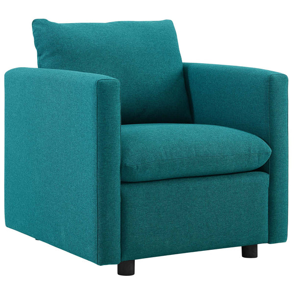 Activate Upholstered Fabric Armchair in Teal by East End Imports