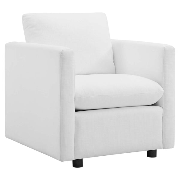 Activate Upholstered Fabric Armchair in White by East End Imports