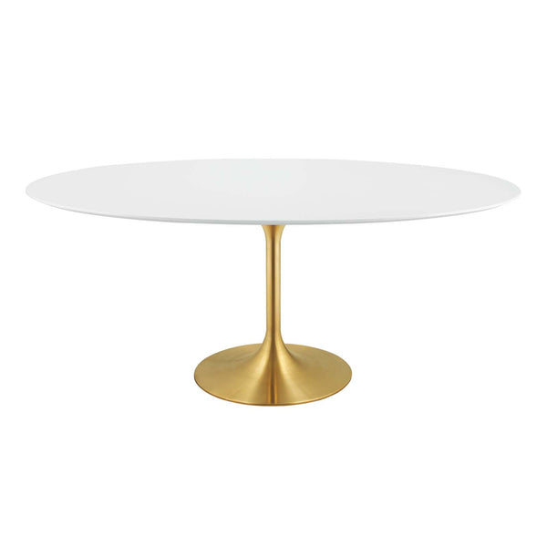 "Modway EEI-3255-GLD-WHI Lippa 78"" Oval Dining Table"