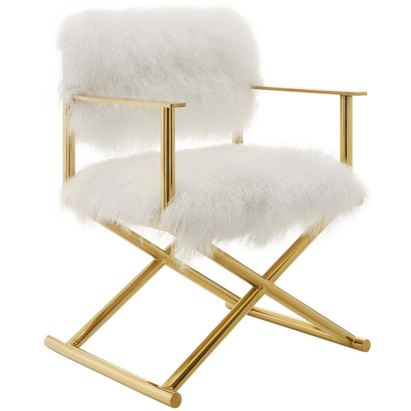 Action Pure White Cashmere Accent Director's Chair in Gold White by East End Imports
