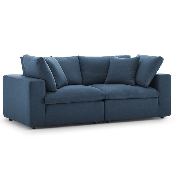 Modway EEI-3354-AZU Commix Down Filled Overstuffed 2 Piece Sectional Sofa Set