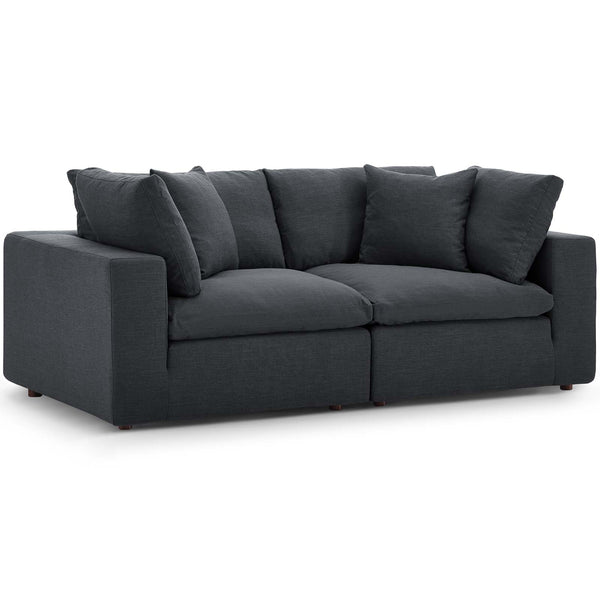 Modway EEI-3354-GRY Commix Down Filled Overstuffed 2 Piece Sectional Sofa Set