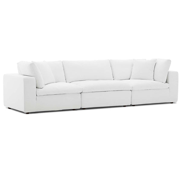 Modway EEI-3355-WHI Commix Down Filled Overstuffed 3 Piece Sectional Sofa Set