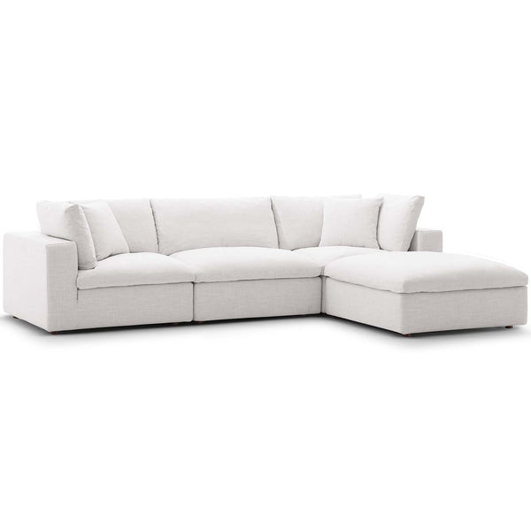 Modway EEI-3356-BEI Commix Down Filled Overstuffed 4 Piece Sectional Sofa Set